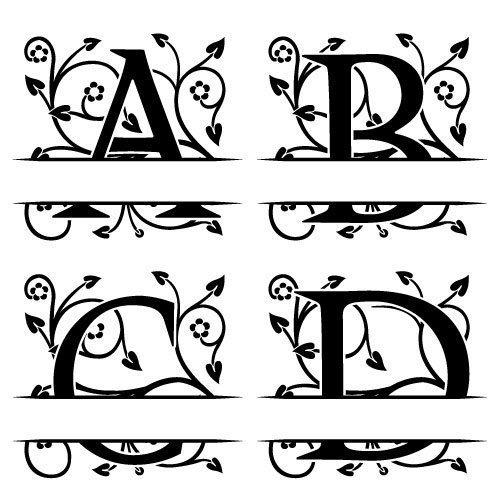 Free Svg Files Svg Png Dxf Ornate Floral Split Monogram Font