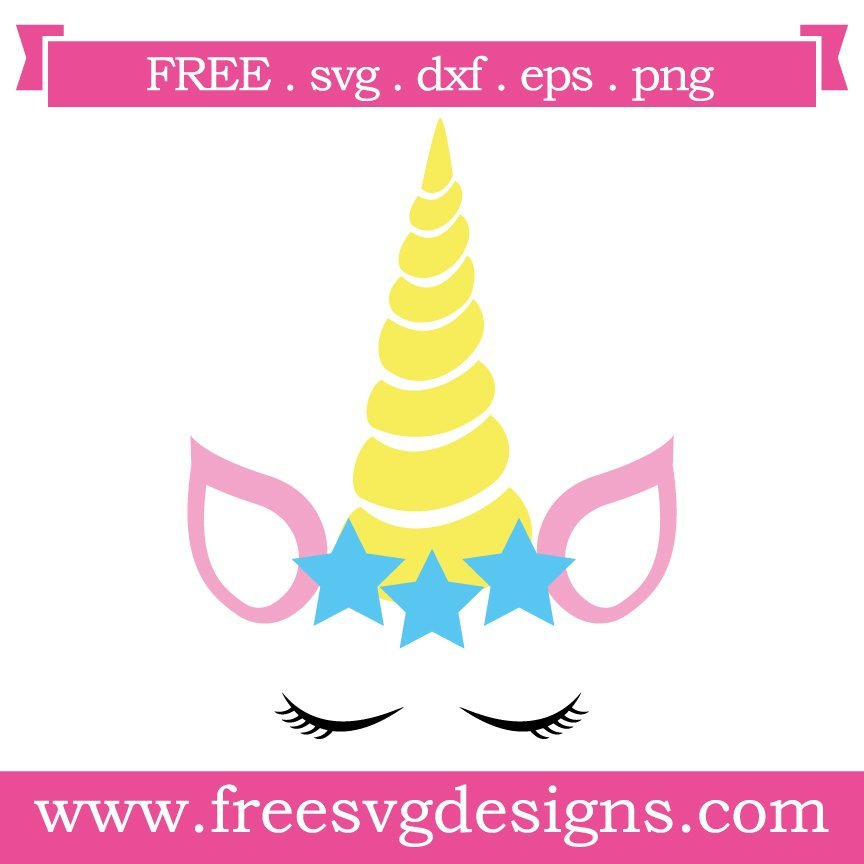 Free svg cut file - Unicorn with star crown. This FREE download includes SVG, EPS, PNG and DXF files for personal cutting projects. Free vector / free svg monogram / free svg images for cricut