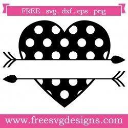 Ploka Dot Split Love Heart Arrows SVG
