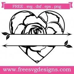 Rose Split Love Heart Arrows SVG