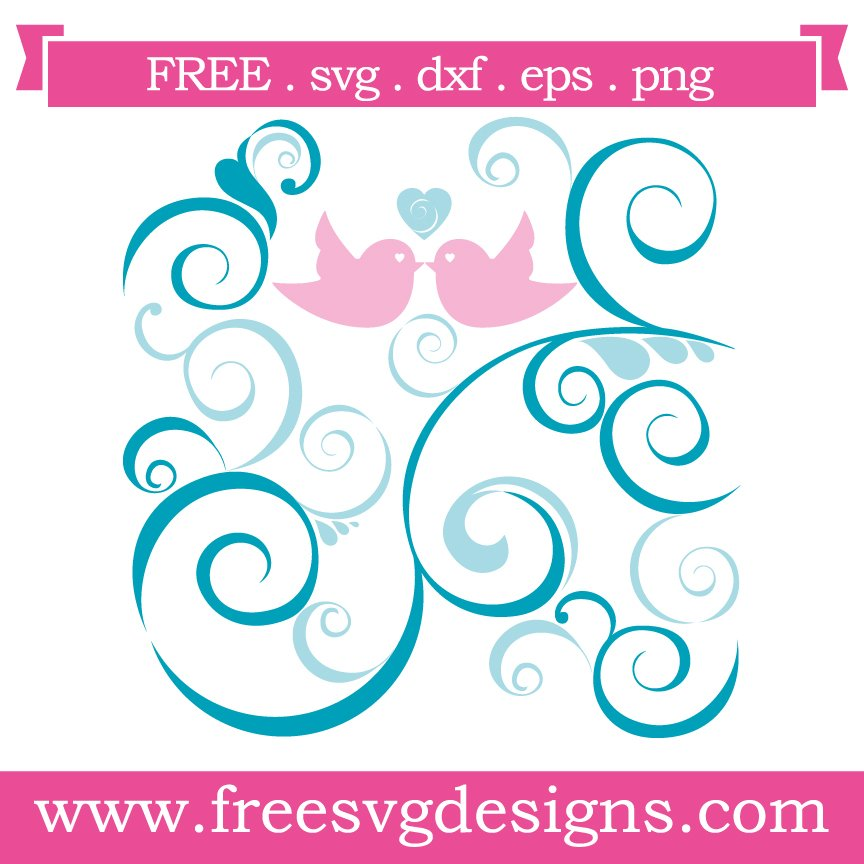 Free svg cut files love birds with flourish. This FREE download includes SVG, EPS, PNG and DXF files for personal cutting projects. Free vector / free svg monogram / free svg images for cricut / valentines / love svg
