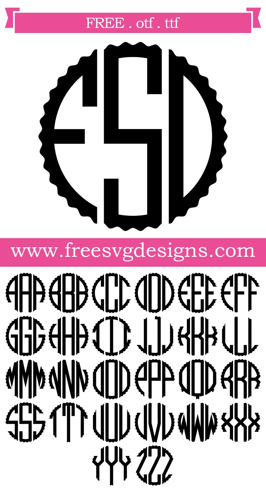 Free monogram font. This FREE download includes OTF and TTF files for personal cutting projects. Free vector / free svg monogram / free svg images for cricut