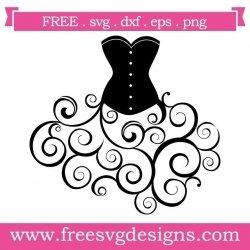 Vintage Corset Dress Swirls SVG