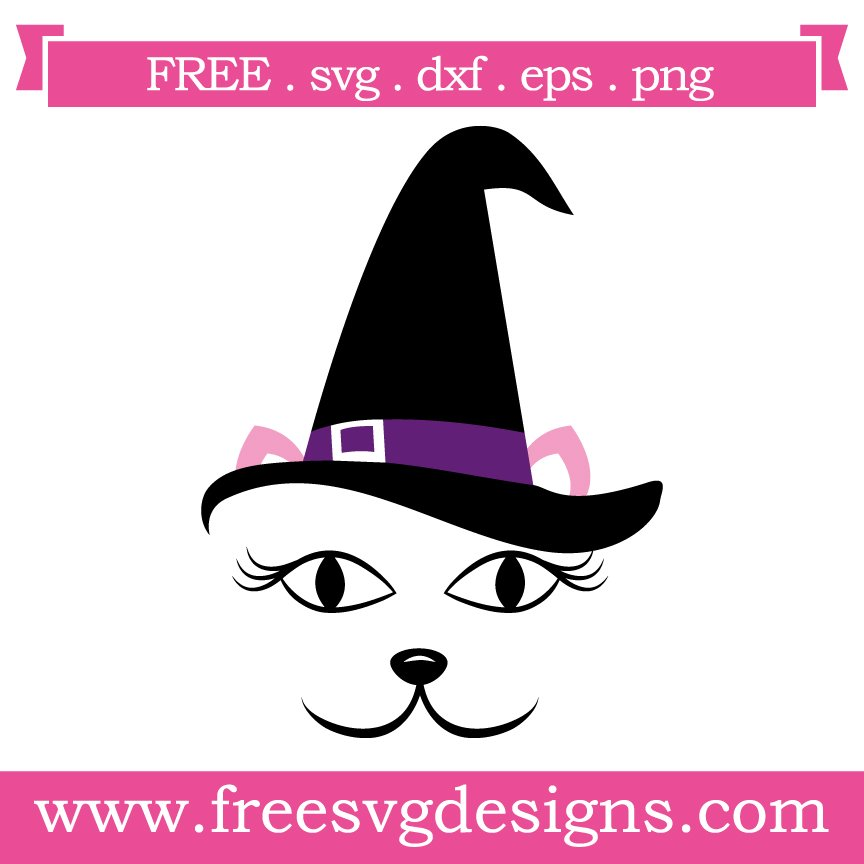 Free svg cut files Halloween Cat Witch. FREE downloads includes SVG, EPS, PNG and DXF files for personal cutting projects. Free vector / printable / free svg images for cricut