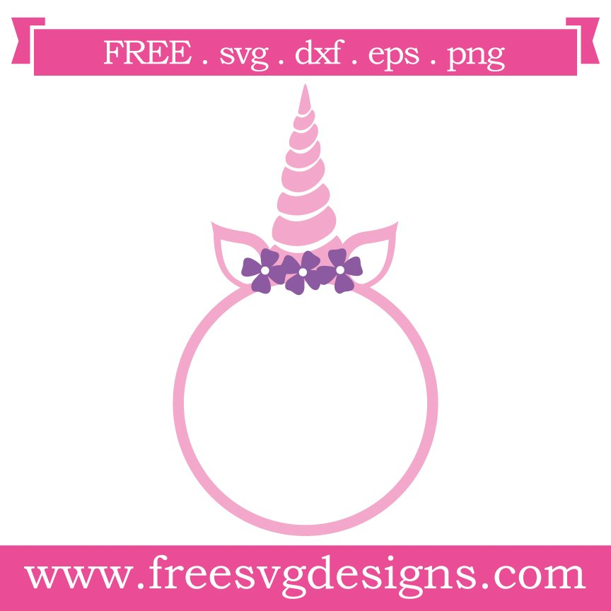 Free unicorn monogram frame at www.freesvgdesigns.com. FREE downloads includes SVG, EPS, PNG and DXF files for personal cutting projects. Free vector / printable / free svg images for cricut