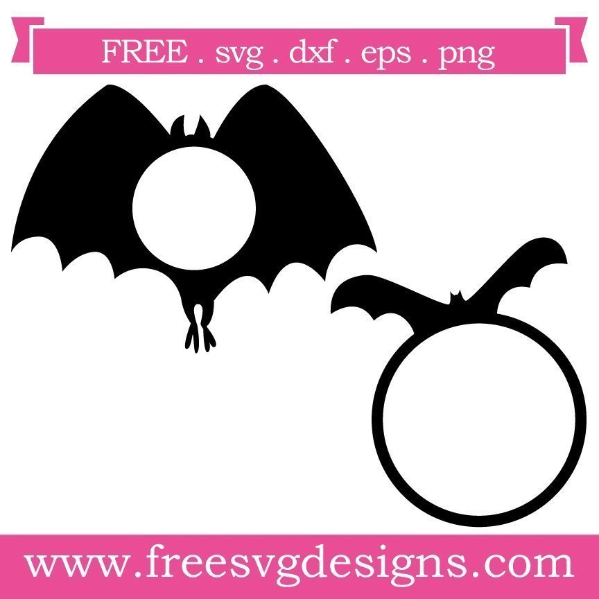 Free bat monogram frame at www.freesvgdesigns.com. FREE downloads includes SVG, EPS, PNG and DXF files for personal cutting projects. Free vector / printable / free svg images for cricut