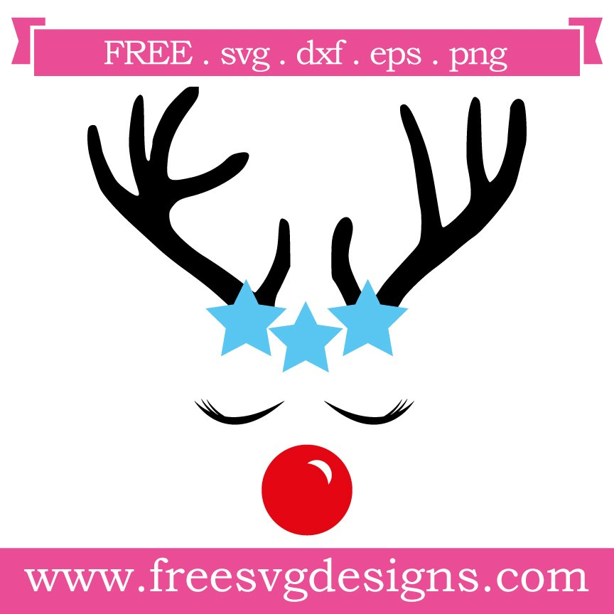 Free Reindeer cut file at www.freesvgdesigns.com. FREE downloads includes SVG, EPS, PNG and DXF files for personal cutting projects. Free vector / printable / free svg images for cricut