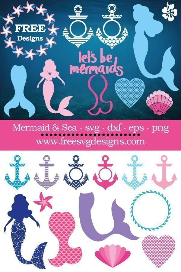 Free mermaid & sea cut files at www.freesvgdesigns.com. FREE downloads includes SVG, EPS, PNG and DXF files for personal cutting projects. Free vector / printable / free svg images for cricut