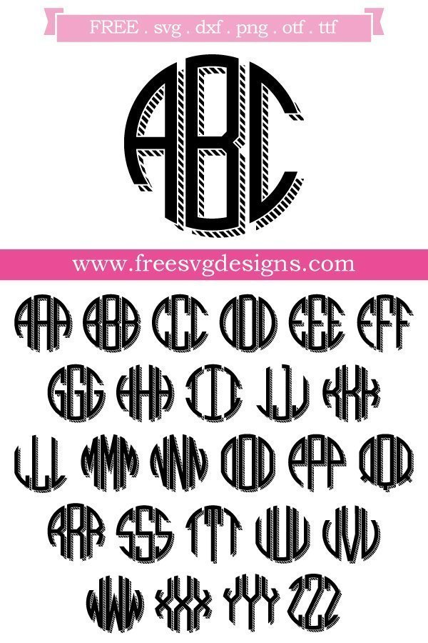 Free Monogram font and cut files at www.freesvgdesigns.com. FREE downloads includes SVG, EPS, PNG and DXF files for personal cutting projects. Free vector / printable / free svg images for cricut