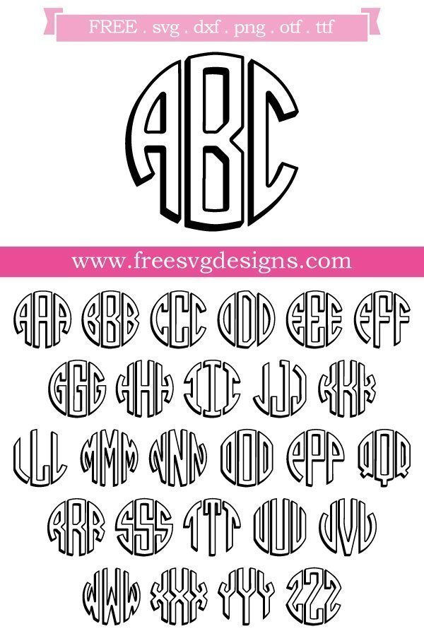 Free Monogram font and cut files at www.freesvgdesigns.com. FREE downloads includes OTF, TTF, SVG, PNG and DXF files for personal cutting projects. Free vector / printable / free svg images for cricut