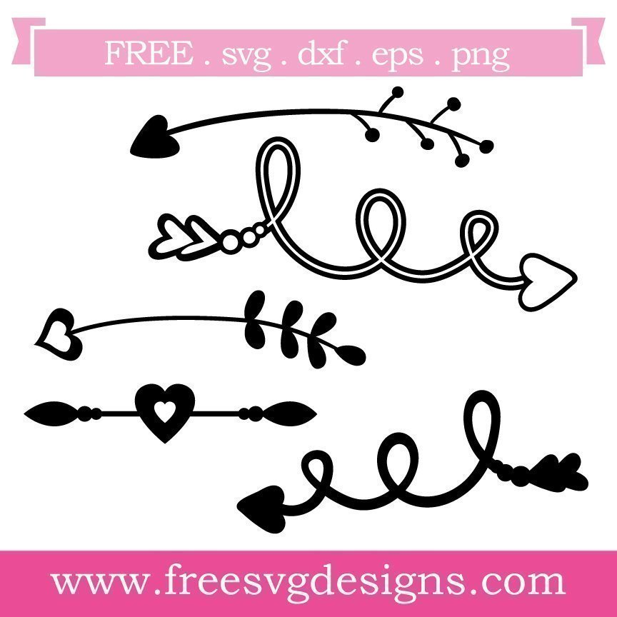 Free Arrow cut files at www.freesvgdesigns.com. Our FREE downloads includes OTF, TTF, SVG, PNG and DXF files for personal cutting projects. Free vector / printable / free svg images for cricut