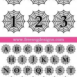 Halloween Spider Web Monogram Font SVG