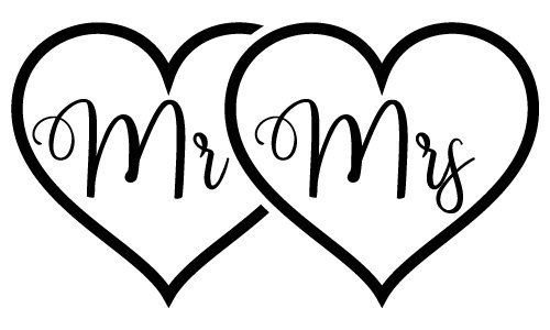 Mr Mrs Love Hearts SVG