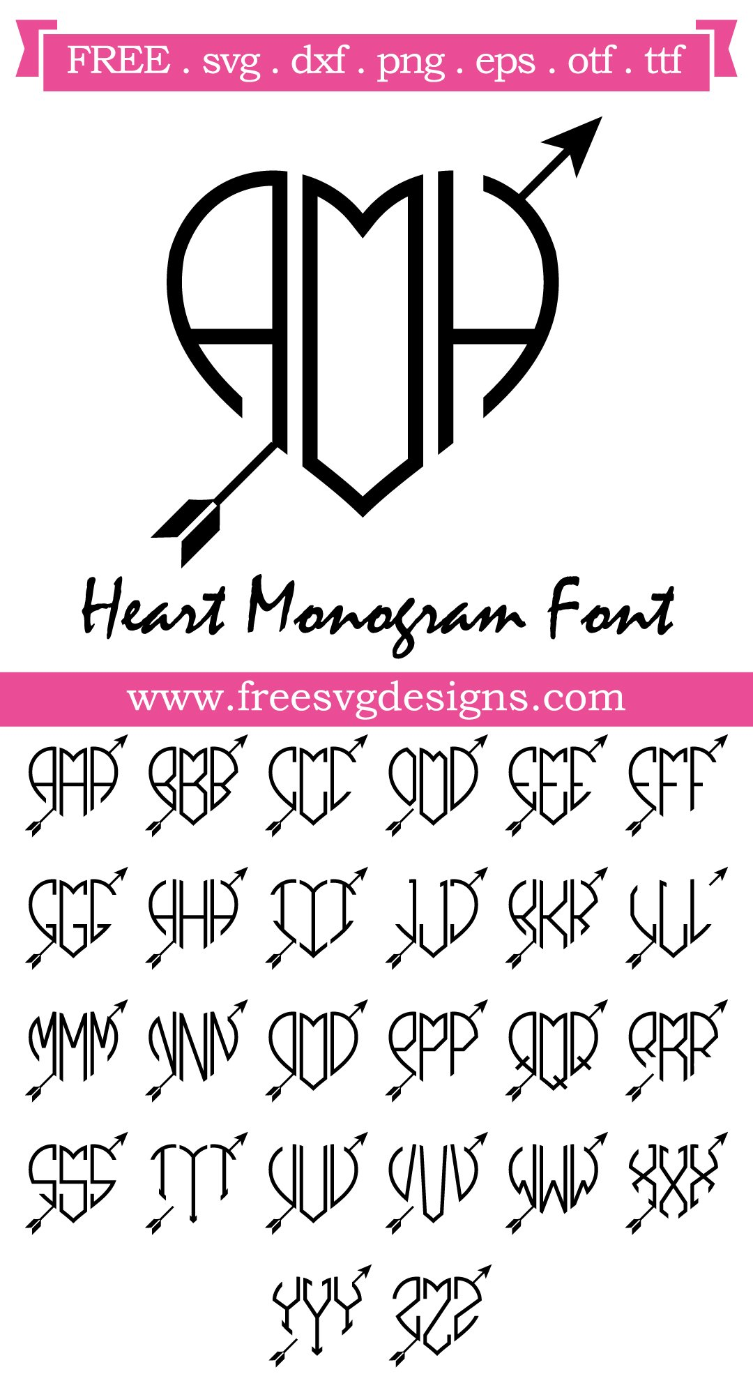 Heart Monogram Font SVG