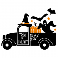 Quote Trick Or Treat Pick Up Truck Halloween SVG