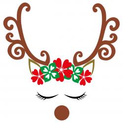 Swirl Reindeer Antlers Flowers SVG