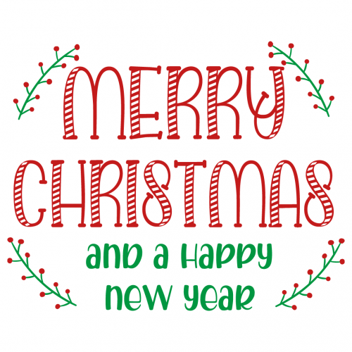 Quote Merry Christmas and Happy New Year SVG
