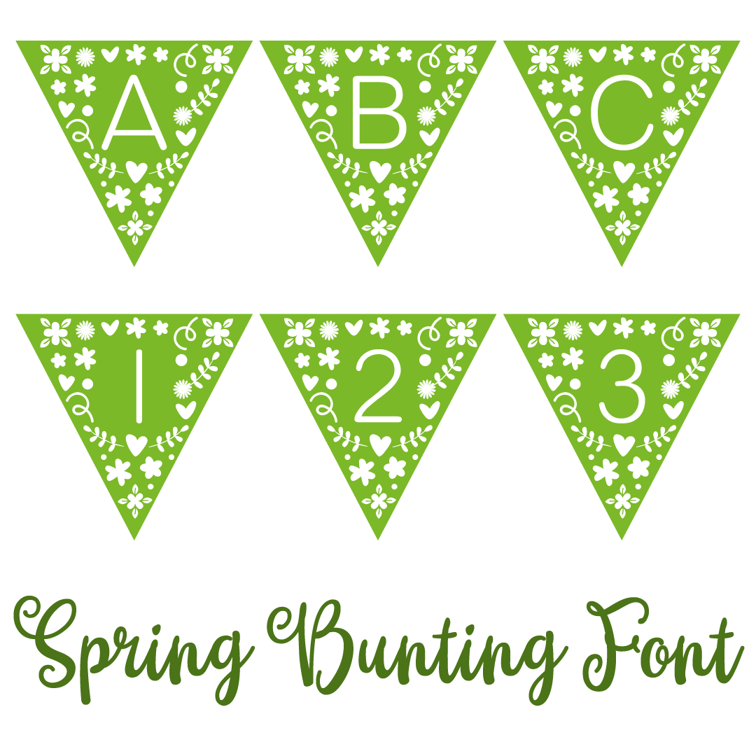 Spring Bunting Font SVG