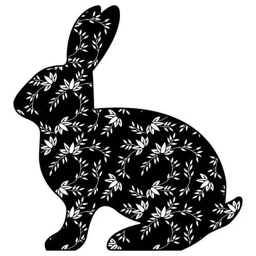 Easter Bunny Floral Flowers Silhouette SVG
