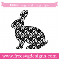 Easter Bunny Swirls Silhouette SVG