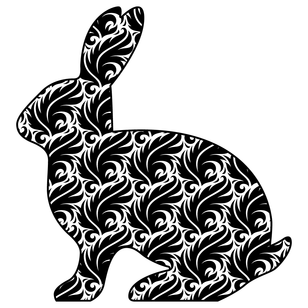 Easter Bunny Vintage Feather Silhouette SVG