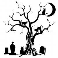 Halloween Spooky Tree Cat Silhouette SVG