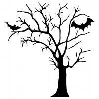 Halloween Spooky Tree Bats Silhouette SVG