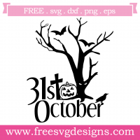 Halloween Spooky Tree Silhouette SVG