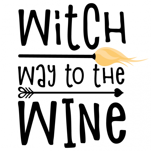 Halloween Witch Way To The Wine Free SVG Files