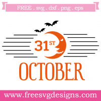 Halloween Spooky October 31st Free SVG Files