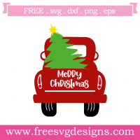 Merry Christmas Pick Up Truck Tree Free SVG Files