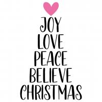 Joy Love Peace Believe Christmas Free SVG Files