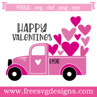 Valentines Love Heart Pick Up Truck Free SVG Files