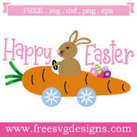 Happy Easter Bunny Rabbit Carrot Car Free SVG Files