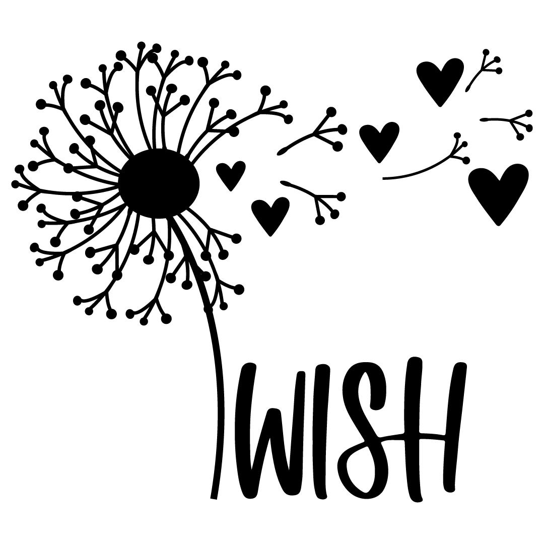 Dandelion Wish Love Hearts Free SVG Files