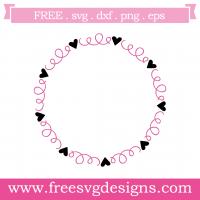 Love Heart Swirls Monogram Frame Free SVG Files