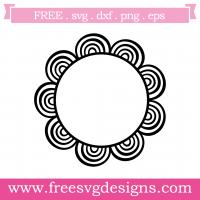 Hand Drawn Doodle Sunflower Monogram Frame Free SVG Files