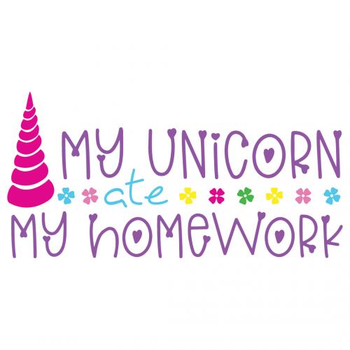 My Unicorn Ate My Homework Free SVG Files