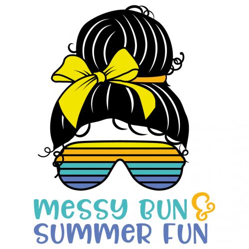 Mom Bun Messy Bun Summer Fun Free SVG Files