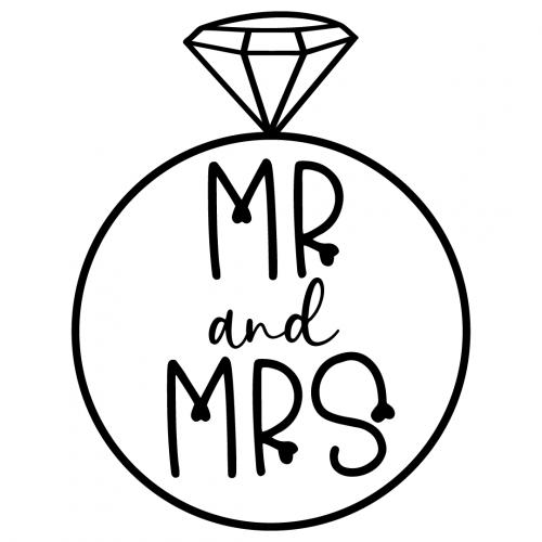 Wedding Diamond Ring Mr Mrs Free SVG Files
